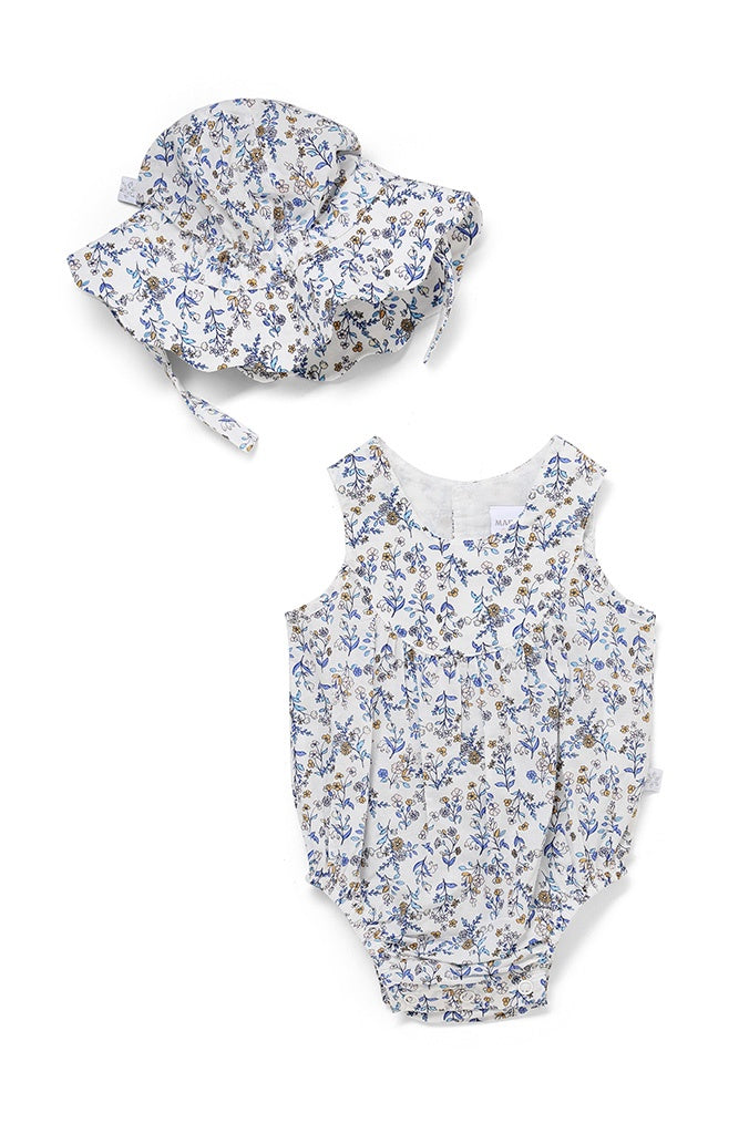Romper & Hat Set Blue Floral
