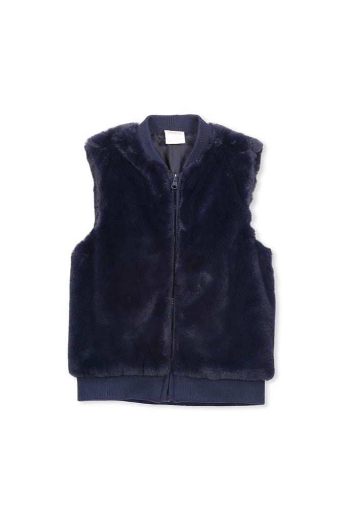 KNIT AND FUR VEST NAVY
