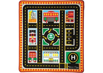 M&D - Round The City Rescue Rug with 4 Vehicles