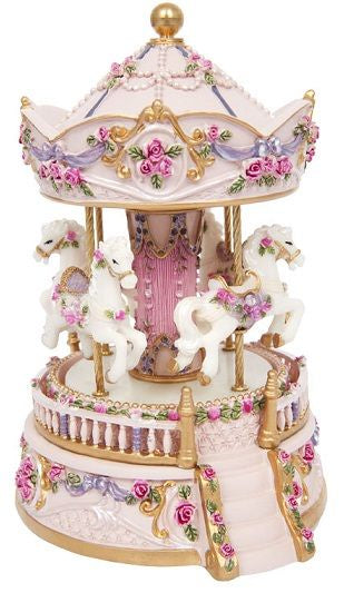 RESIN CAROUSEL 4 HORSES W MUSIC