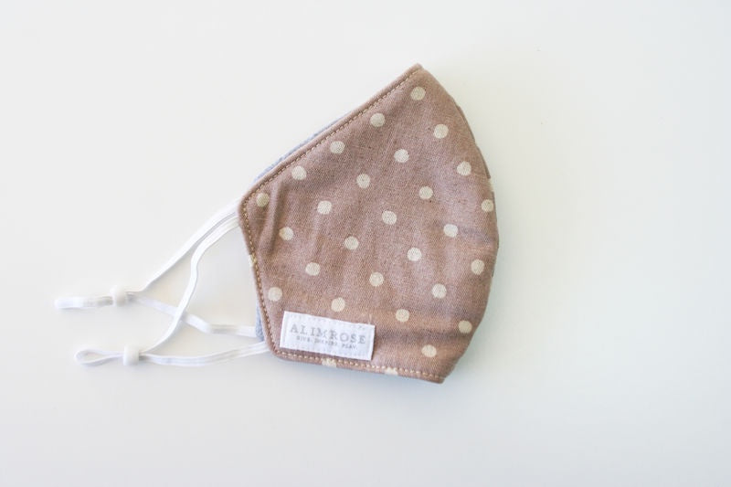 ADULT 3 LAYER FACE MASK - LINEN MAUVE SPOT