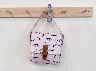 Cross Body Leather Buckle Cat Pink