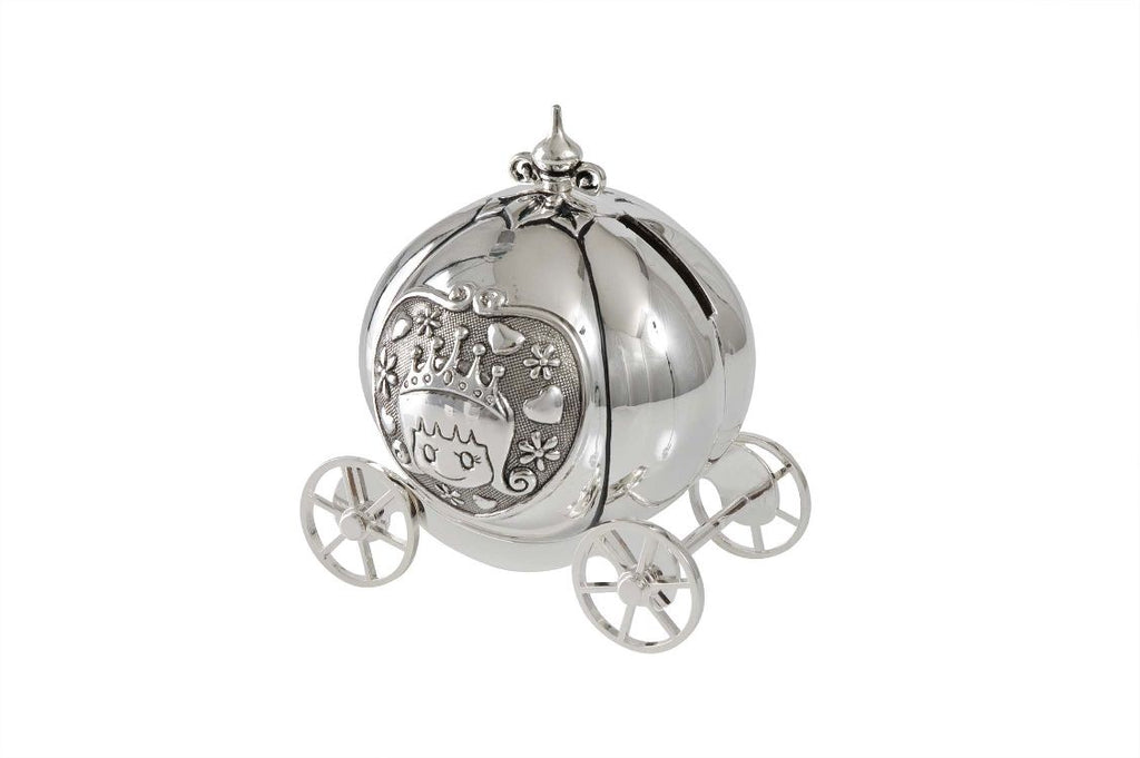 Money Box Pumpkin Coach Silver Plate