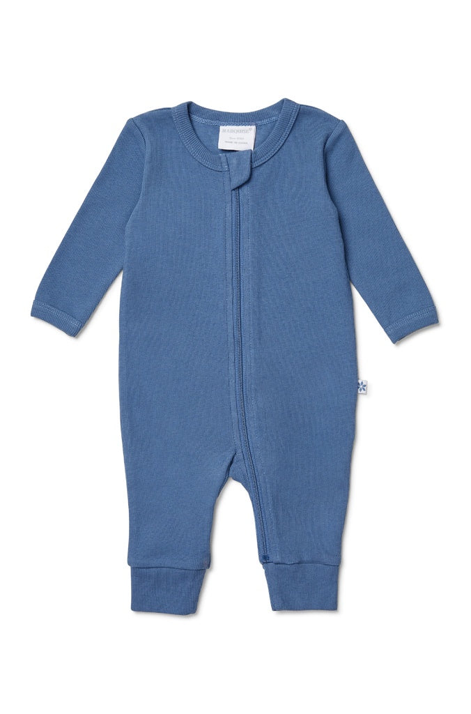 STEEL BLUE RIB ZIPSUIT