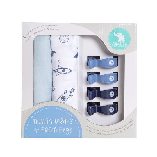 2 Muslin Wraps & 4 Pegs - Spaceship & Blue