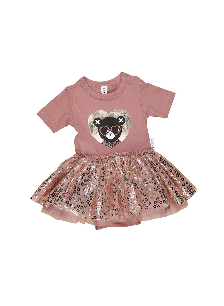 HEART BEAR BALLET ONESIE BERRY