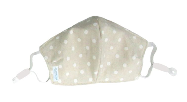 YOUTH SIZE - 3 Layer Face Mask - Linen White Spot