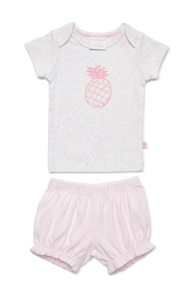 SS TShirt & Short Set Pineapple Pink