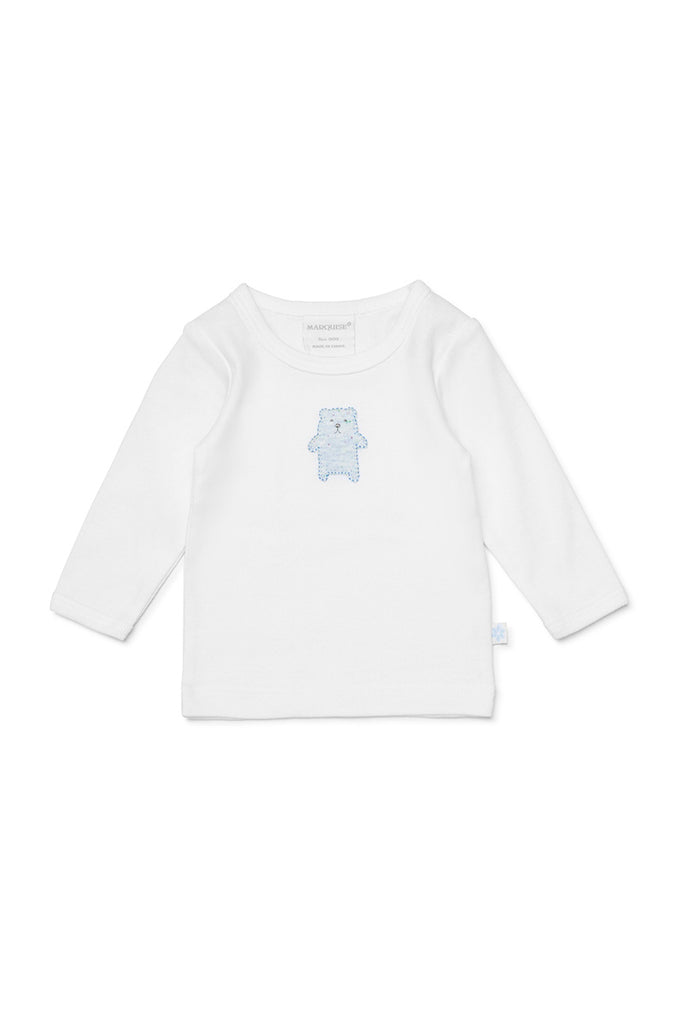 BEAR LONG SLEEVE TOP AND FOOTED LEGGINGS - WHITE/BLUE