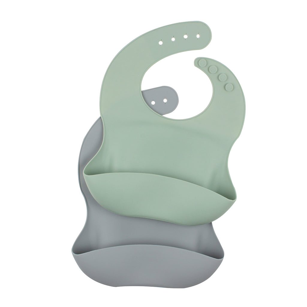 SAGE GREY SILICONE BIBS 2 PACK