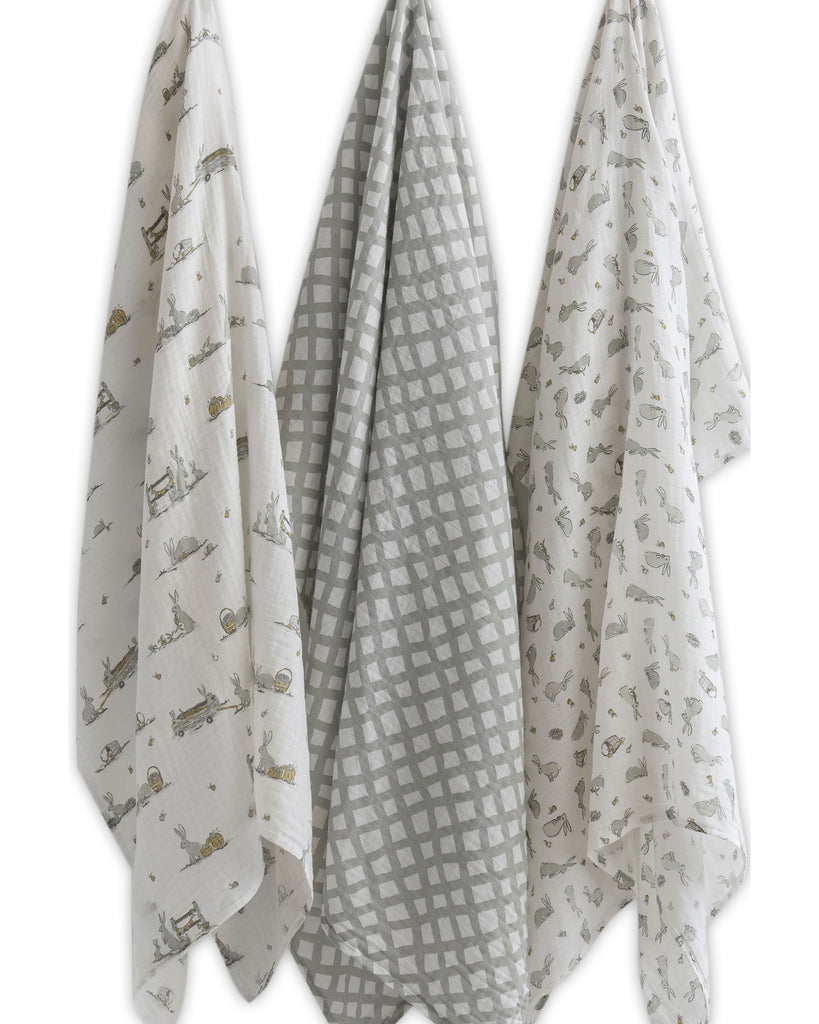 Muslin 3Pk Prints - Grey Country Bunnies
