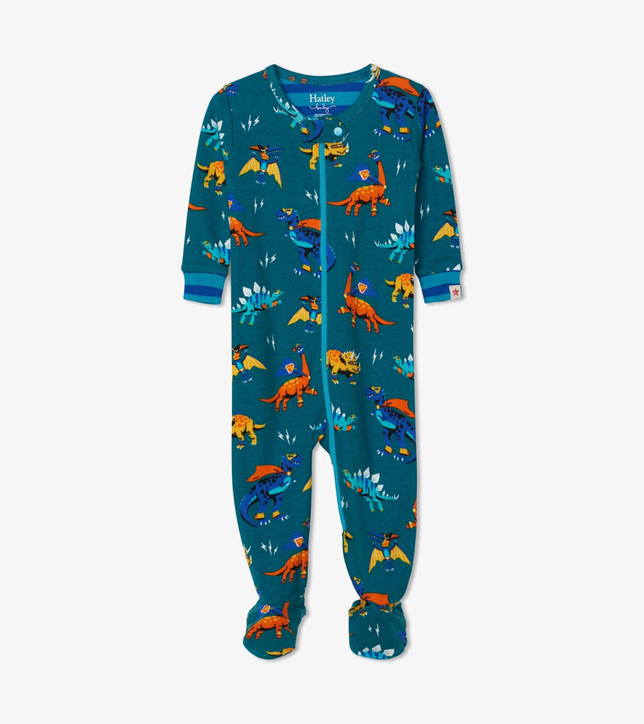 Superhero Dinos Organic Cotton Footed Coverall