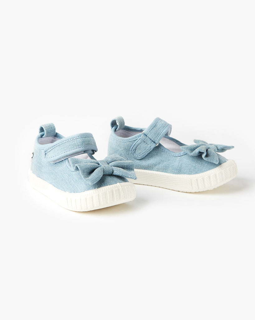Mary Jane Bow Canvas Light Denim