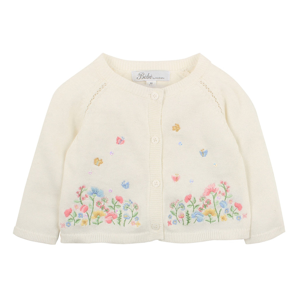 ISLA BABY EMBROIDERED CARDIGAN CLOUD