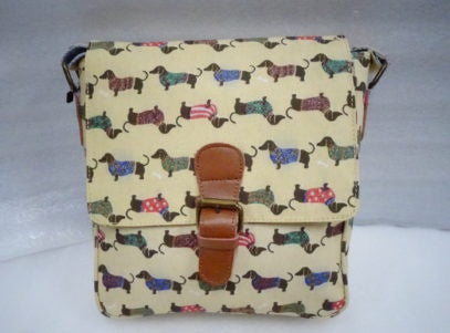 Cross Body Leather Buckle Dachshund Pink