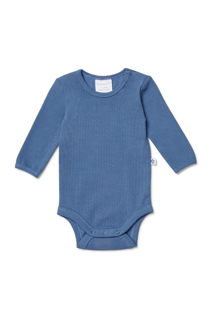 STEEL BLUE LONG SLEEVED BODYSUIT