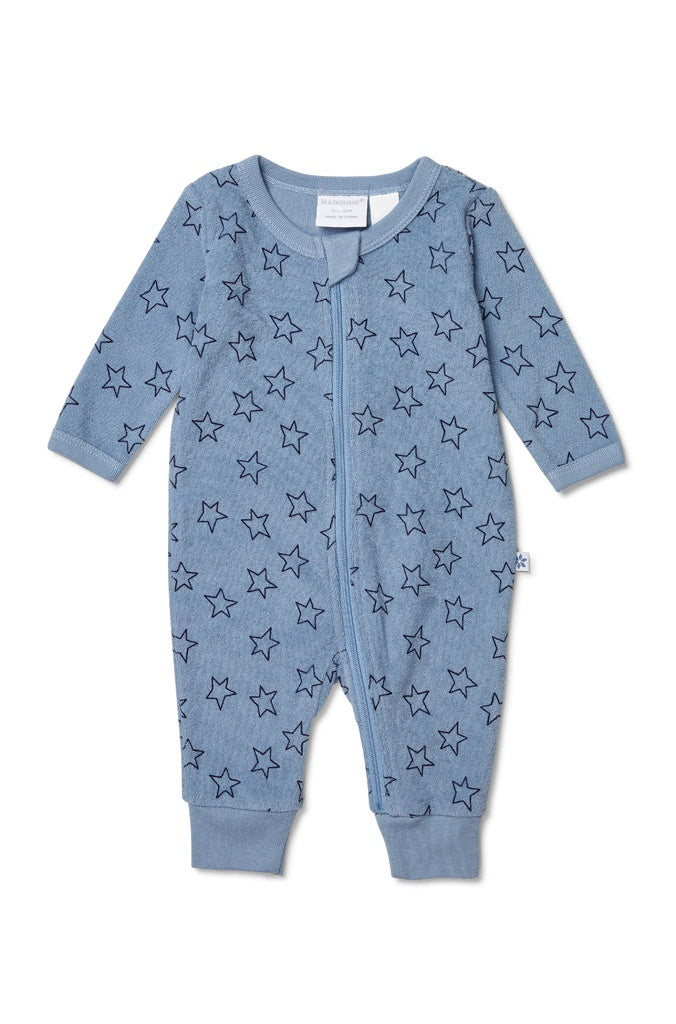 BLUE TERRY TOWELLING ZIPSUIT STAR