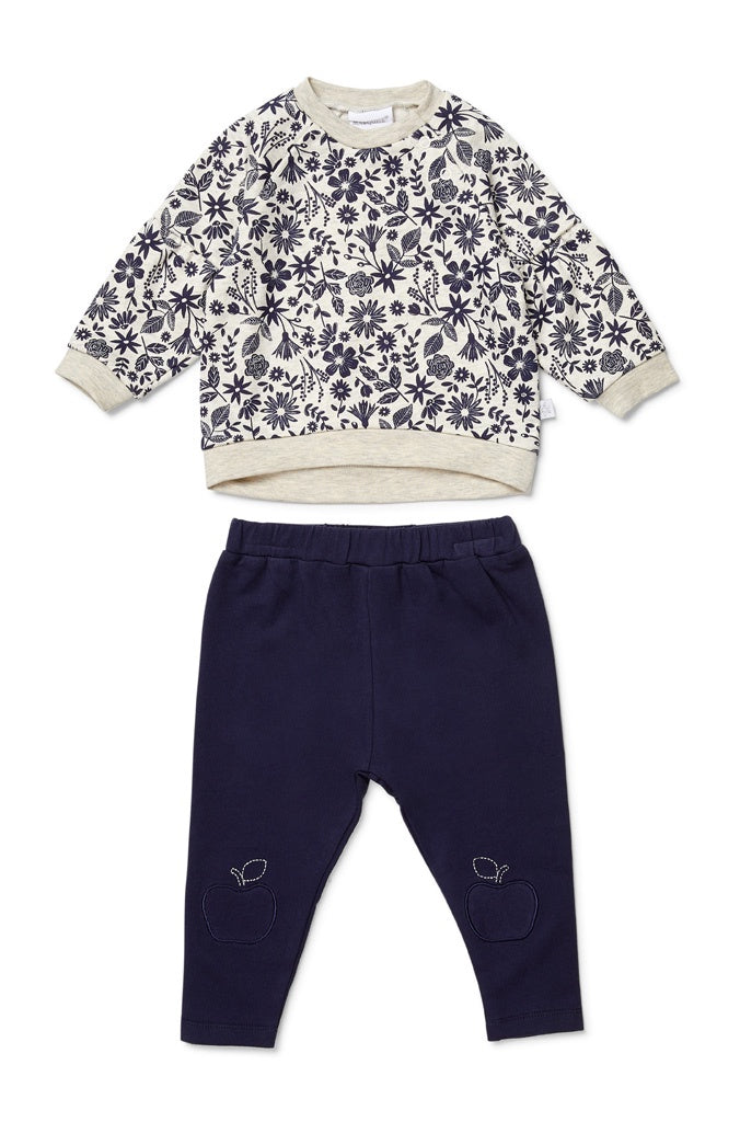 APPLE BLOSSOM TOP AND NAVY PANTS