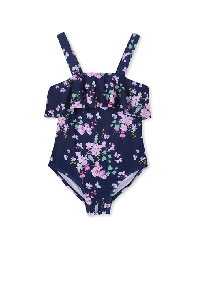 FLORAL FRILL SWIMSUIT - NAVY FLORAL