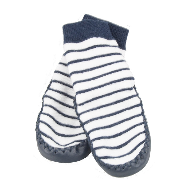 Leather Moccasin Socks Navy Stripe