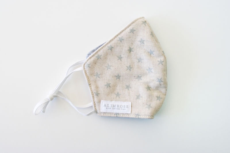 ADULT 3 LAYER FACE MASK - LINEN SILVER STAR