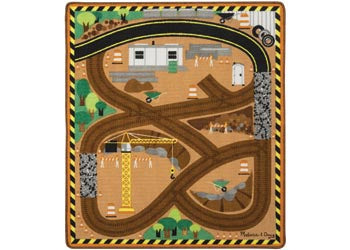 M&D - Round the Construction World Zone Site Rug with 3 Vehicles