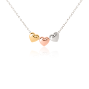 Three of Puffed Heart Necklace - Silver, Gold, Rose Gold