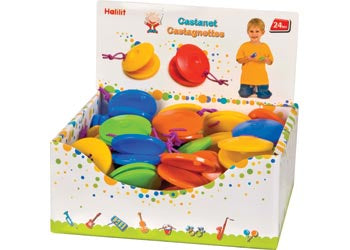 Attractive easy to play Castanet, simply click clack to produce rythmic, ripping rattling sound. Assorted colours orange, yellow, blue, green