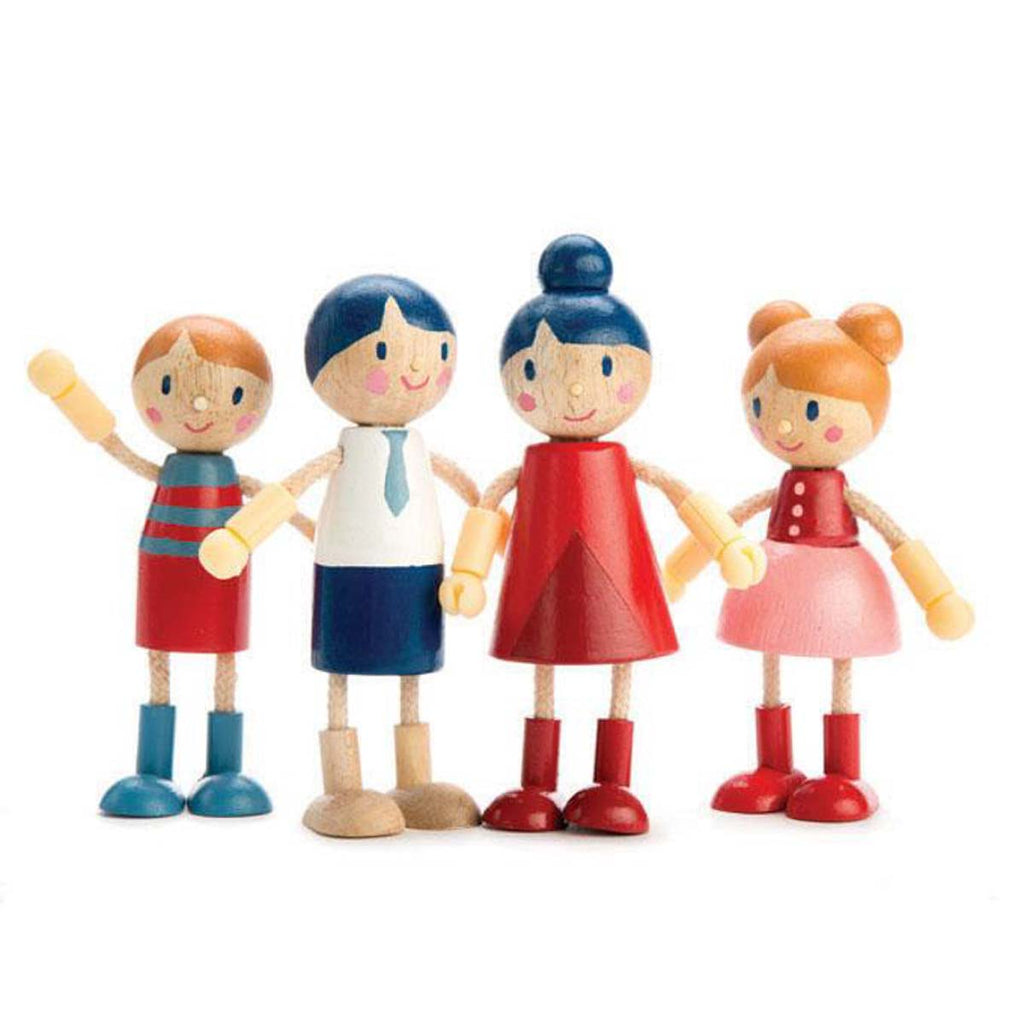 Wooden Doll Family with Flexible Arms and Legs