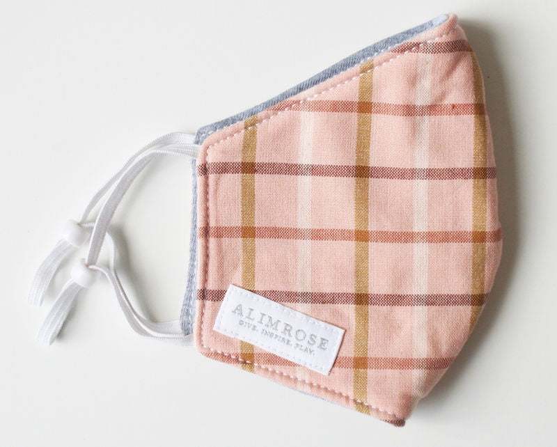 ADULT 3 LAYER FACE MASK - PINK PLAID