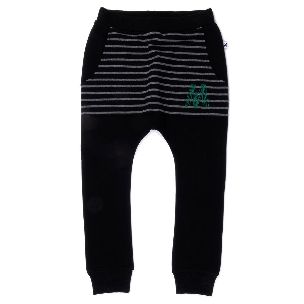 Standard Furry Pouch Trackies - Black/Charcoal Stripe