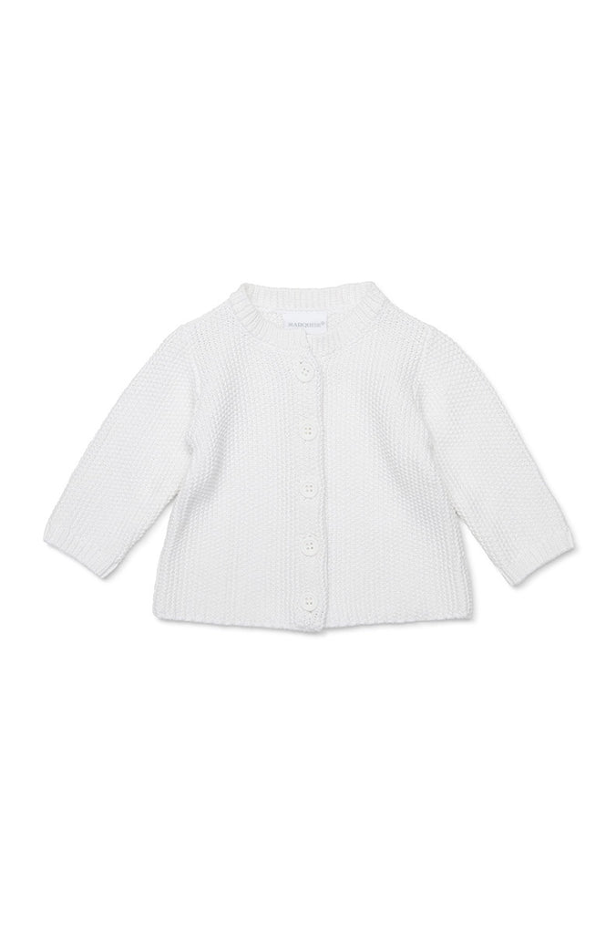 KNITTED COTTON CARDIGAN - WHITE