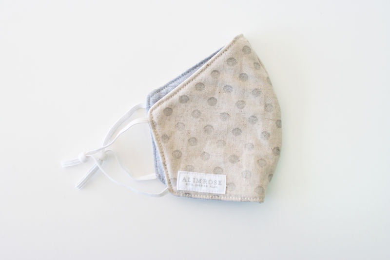 YOUTH 3 LAYER FACE MASK - LINEN SILVER DOTTY