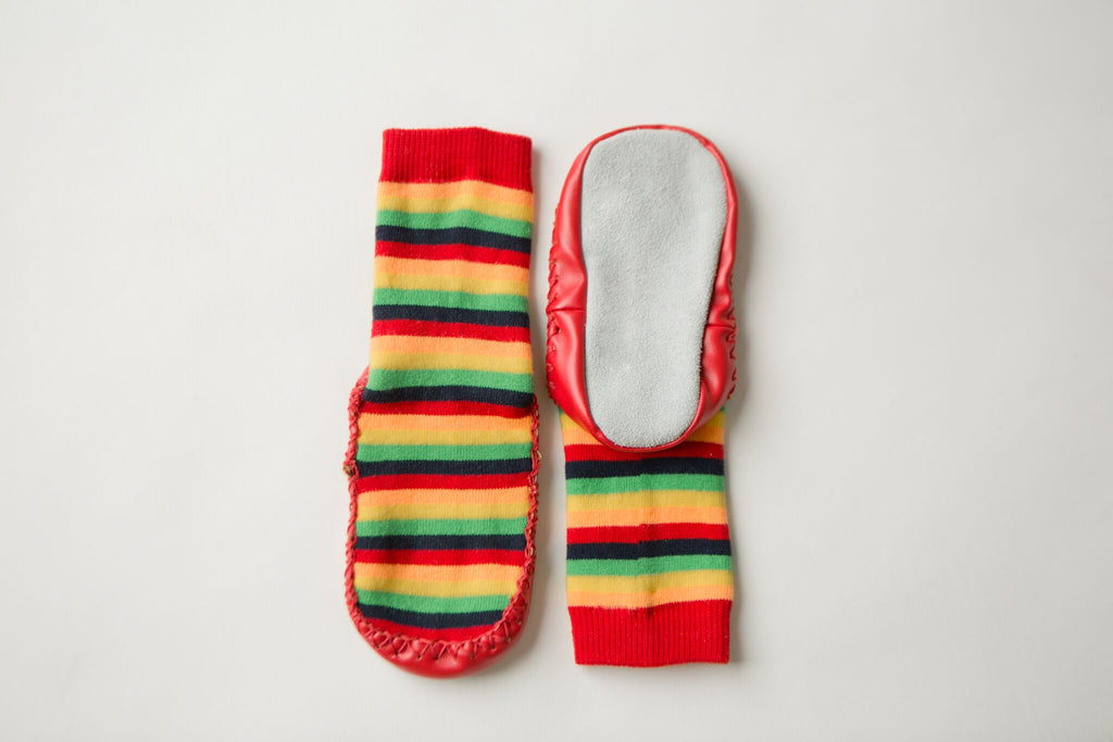 Leather Moccasin Socks Rainbow Stripe