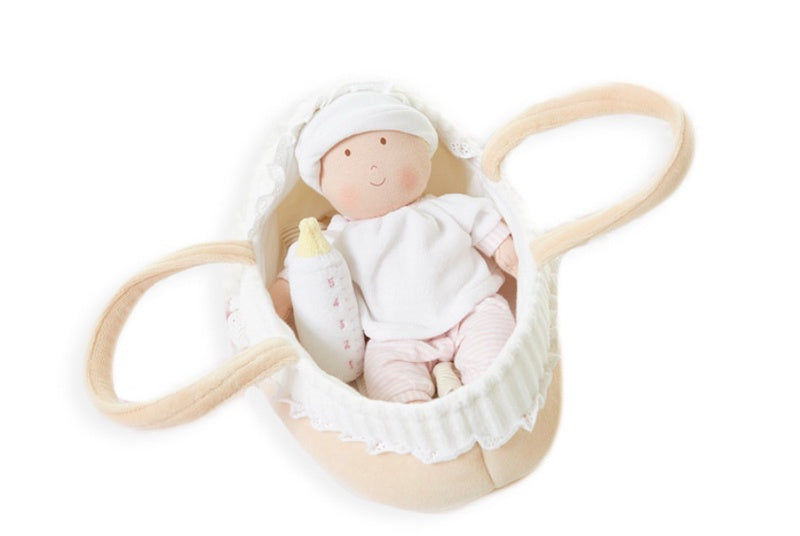 Grace Baby Doll in Carry Cot With Bottle & Blanket
