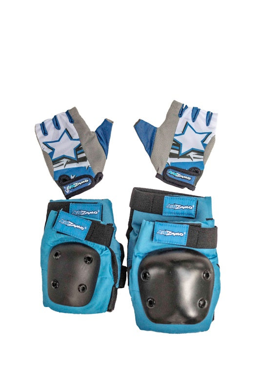 Kidzamo Blue Elbow & Knee Pads with Gloves