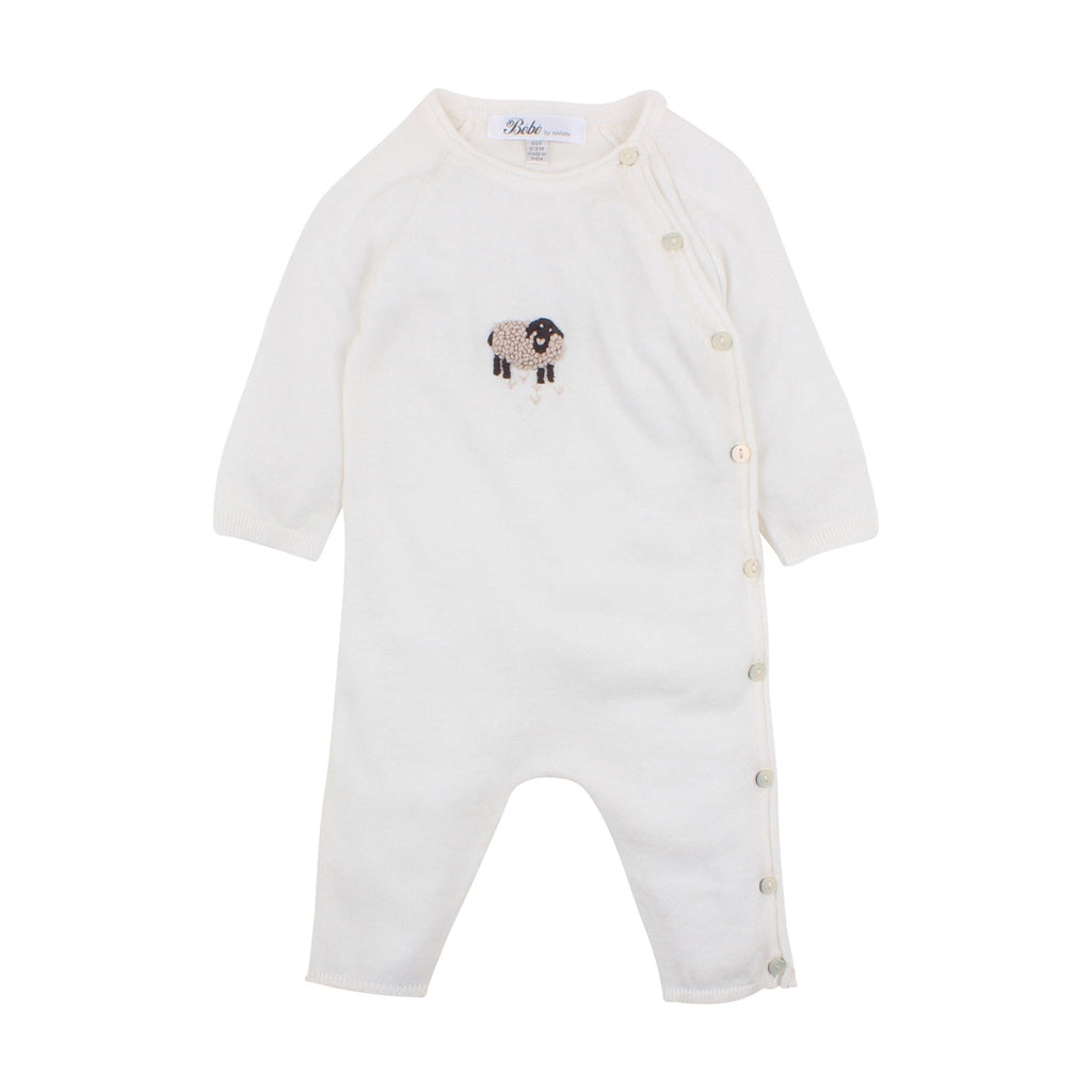 SHEEP KNIT ROMPER OAT