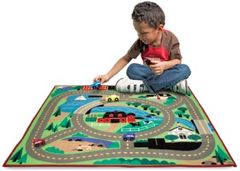 M&D - Round the Town Road Rug with 4 Vehicles