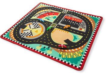 M&D - Round the Speedway Race Track Rug with 4 Vehicles