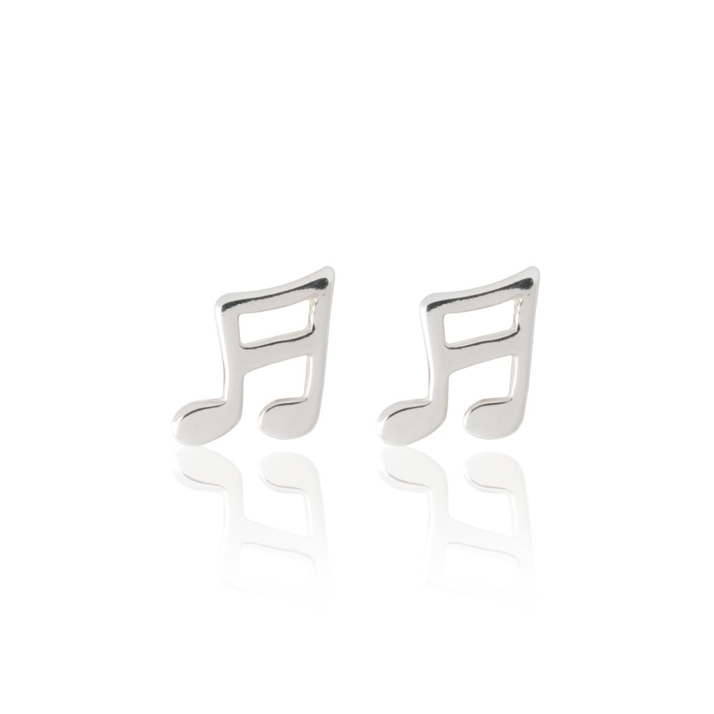 Musical Note Earrings - Sterling Silver