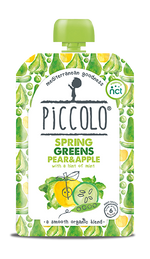 Piccolo Organic Spring Greens, Pear & Apple with a hint of mint (Stage 1 - 100g )