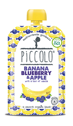 Piccolo Organic Banana, Blueberry & Apple with a hint of Vanilla (Stage 1 - 100g )
