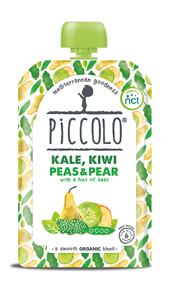 Piccolo Organic Kale, Kiwi Peas & Pear with a hint of basil (Stage 1 - 100g )