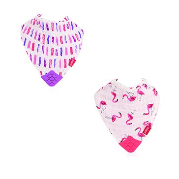 Muslin Bandana Bibs with Teether (2 pcs) -Flamingo Road & Brush Strokes