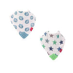 Muslin Bandana Bibs with Teether (2 pcs) -Business Wear Star & Bi-Polar Bears