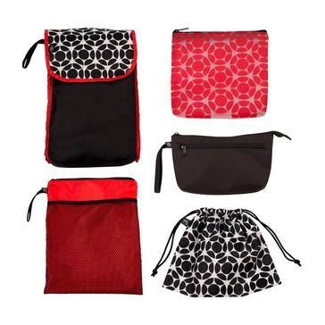 J.L. Childress - 5-in-1 Diaper Bag Organizer - Black/ Red Floral