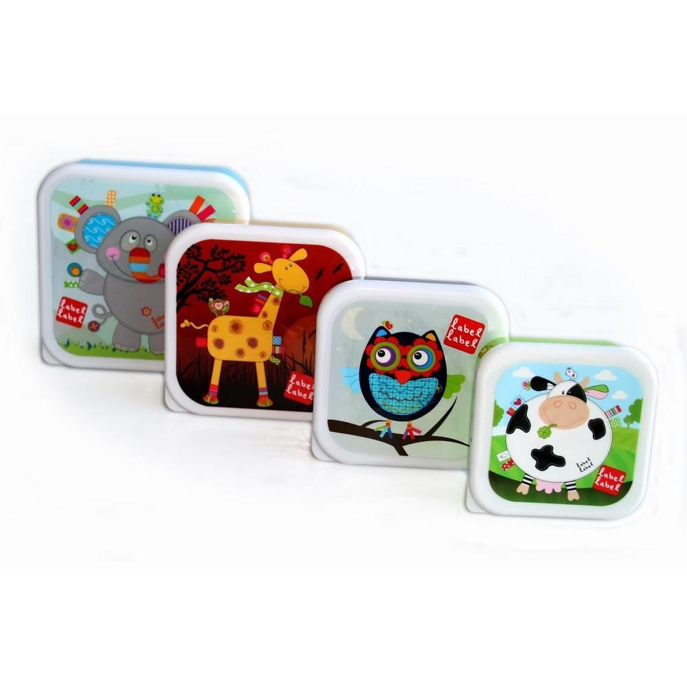 Label Label - Kids Square Lunch and Snack Pots - Set of 4