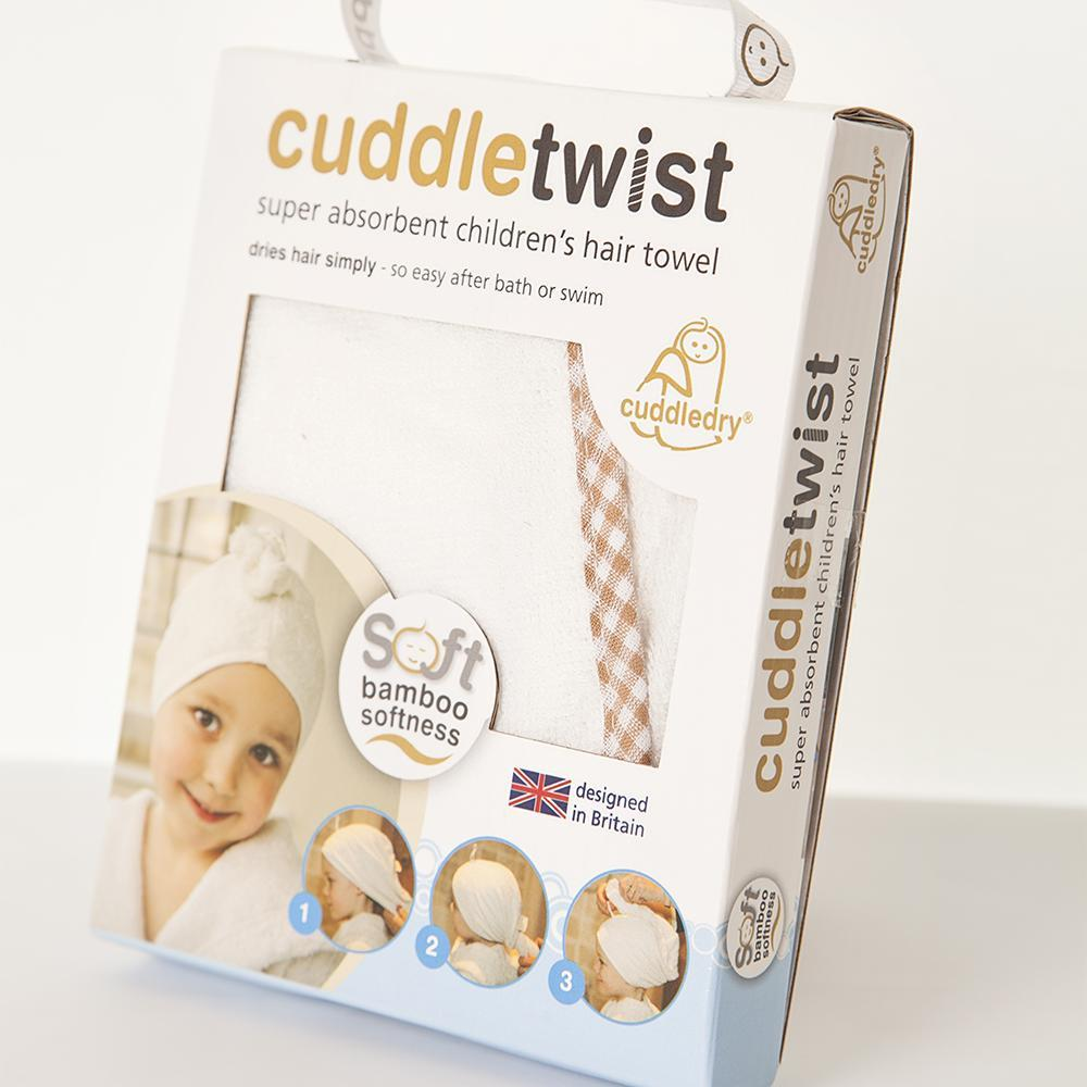 Cuddledry - Cuddletwist Hair Towel- Natural White with Gingham Trim