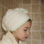 Cuddledry - CuddleTwist Hair Towel-Natural White with Mint Trim