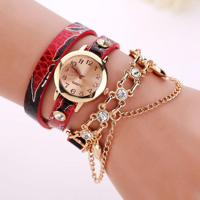 Women Leather Bracelet Luxury Watch
